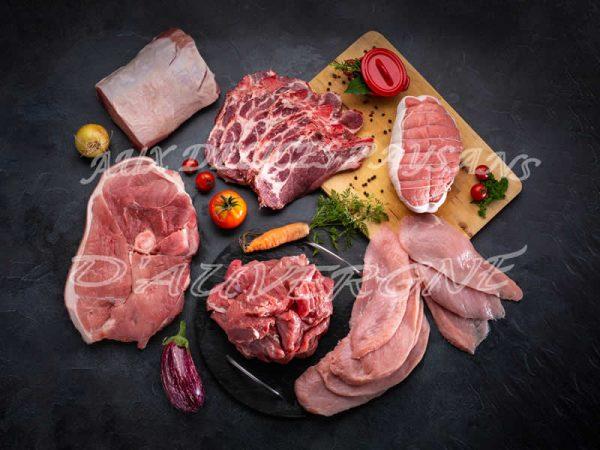 Caissette 6kg panaché 3kg veau + 3kg porc rôti en rouelle
